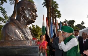 Unveiling of the bust of Mahatma Gandhi at El-Horreya Park, Cairo by Honourable Minister Shri Hardeep Singh Puri