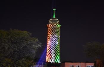 Illumination of Cairo Tower on 15 August