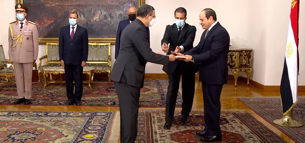 Ambassador Ajit Gupte presented Credentials to President of Egypt, H.E. Abdel Fattah El-Sisi on 15 September 2021