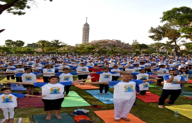 International Day of Yoga celebrations at Al- Horreya Park, Cairo