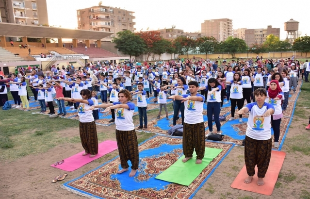 International Day of Yoga celebrations at Menia Sports Club, Al Menia Governorate